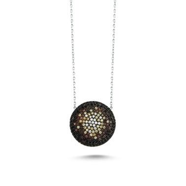 Online Takı Siyah Taşlı Gümüş Kolye  Renkli